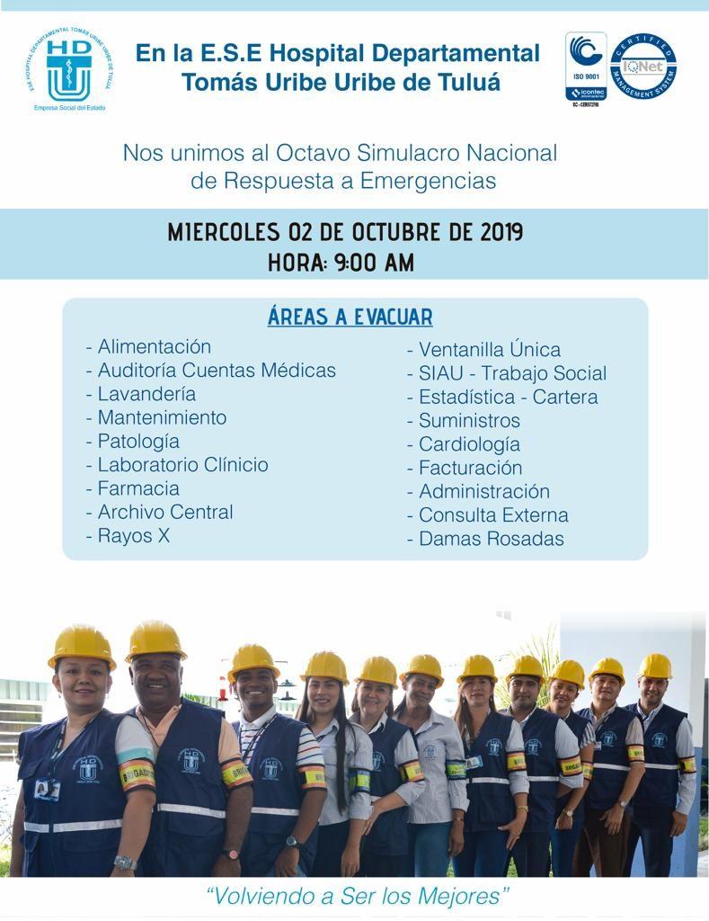 La E.S.E Hospital Departamental Tomás Uribe Uribe de Tuluá, se unió al Octavo  Simulacro Nacional de Respuesta a Emergencias